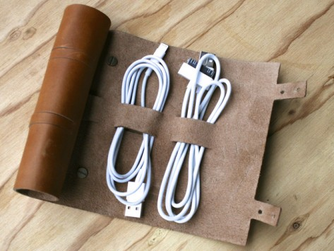 Leather cord organizer, excellent gift for a holiday corporate party