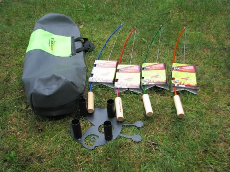 Fire pit accessories fishing pole roasters from firebuggz for Fire fishing pole