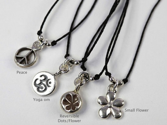 Beadorable Necklaces - sterling charm on gore - tex necklace