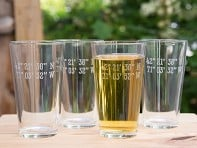 Susquehanna Glass Company: Sand Etched Latitude and Longtitude Pint Glass