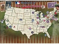 Map Your Travels: Major League Baseball Stadiums - Laminated