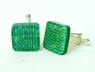 Kiku Handmade:  Fused Glass Circuit Cufflinks