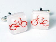 Kiku Handmade: Fused Glass Bike Cufflinks
