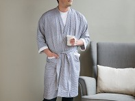 Kara Weaves: Cotton Bathrobe - Black & White Pinstripes