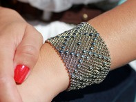 Liquid Metal: Mesh Cuff Bracelet & Collection Bag