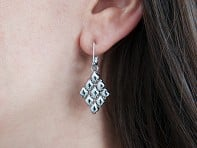 Liquid Metal: Diamond Shape Mesh Earrings & Collection Bag