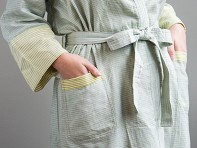Kara Weaves: Cotton Bathrobe - Khaki, Aqua, & Lemon
