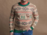 Faux Real: Men's Traditional Reindeer Ugly Christmas T-Shirt