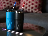 Stainless Steel Reusable Straw Set - 4 Pack - Case of 10
