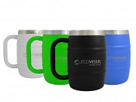Eco Vessel: DOUBLE BARREL Insulated Beer & Coffee Mug - Case of 6