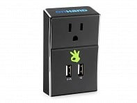 Wall Outlet with Dual USB Ports - Black - Case of 6