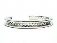 Stainless Steel Hair Tie Bracelet - Laurel Design