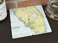Torched Products: Old World Map Coasters - 4 Pack - Case of 6