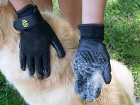 HandsOn Gloves: Grooved Pet Grooming Gloves + Free POP Display - Case of 144