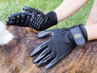 HandsOn Gloves: Grooved Pet Grooming Gloves - Case of 12
