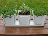 Groovebox Living: Flat-Pack 3 Planter Set with Drainage Tray - Case of 5