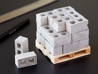 Mini Materials: 1:12 Scale Miniature Cinder Blocks - 24 Pack With Pallet - Case of 20