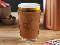 Oowee: Leather Pint Glass Sleeve Gift Set - With Glassware - Case of 5