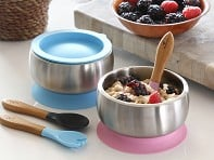 Avanchy: Stainless Steel Suction Baby Bowl & Air Tight Lid - Case of 10