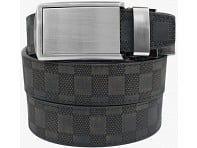 Black/Black Distressed Checkered Leather Belt with Silver Buckle
