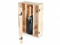 True: Wooden Wine Boxes - Marketplace Champagne Gift Box - Case of 2
