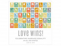 Design With Heart: Frameless Marriage Equality Poster - All 50 States - Case of 12