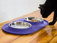 Messy Cats  Double Silicone Feeder with Stainless Steel Bowls - Case of 4
