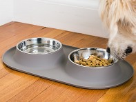 Messy Mutts: Double Silicone Feeder with Stainless Steel Bowls - Case of 4