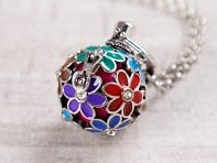 Yourself Expression: Painted Flowers Angel Locket - Sample