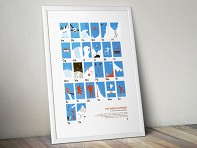 Skier's Alphabet Screen Printed Poster - Case of 10