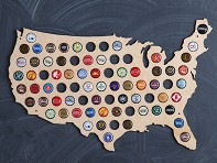 Wooden Shoe Designs: Beer Cap Map of USA