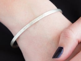 Alloy Jewelry: Rounded Sterling Silver Quote Cuff -