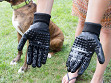 Grooved Pet Grooming Gloves - Case of 12
