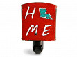 Reclaimed Metal Home State Night Light - Louisiana - Red & Turquoise