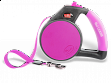 Gel Handle Reflective Tape Retractable Leash - Small - Purple