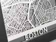 Stainless Steel City Maps (5 x 7) - Boston