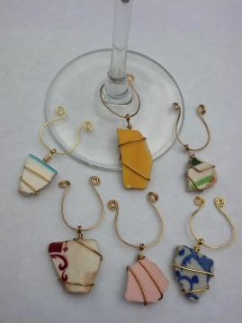 Historic ceramic wine glass charms