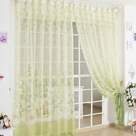 Country Green Print Sheer Curtains Panel