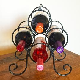 Roma 4 Bottle Metal Wine Rack