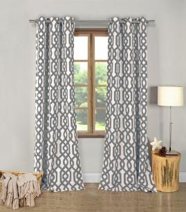 Set of 2: Ashmont Geometric Blackout Energy-Saving Curtain Panels