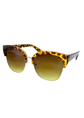 Large Semi-Rimless Marbleized Fashion Sunglasses