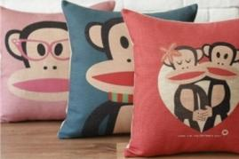 Retro Big-mouth Monkey Pillow Covers Linen Cushion Cases