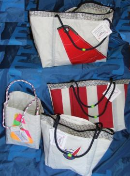Boathouse Bags line of Beach Bags/Totes and other products constructed from used, recycled sailcloth