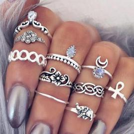 VINTAGE BOHO 10-PIECE RING SET