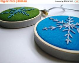 hand embroidered snowflake ornaments