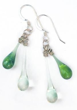 Sun-melted glass and recycled silver jewelry