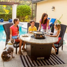 Firetainment Fire Pit Tables (Patio Table + Fire Pit Table + Hibachi Style Grill=ALL-IN-ONE Table
