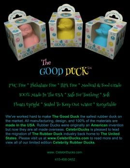The Good Duck - worlds safest PVC Free rubber duck for children made in USA