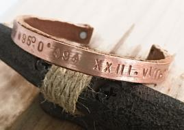 GPS Coordinate Leather and Copper Cuff
