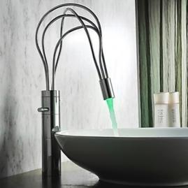 Contemporary Chrome Finish Single Handle LED Bathroom Sink Faucet